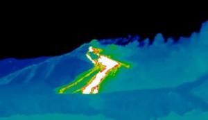 Etna: Immagine termografica della frattura. Fonte Ingv