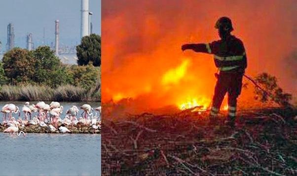 Saline Priolo, incendio nella riserva