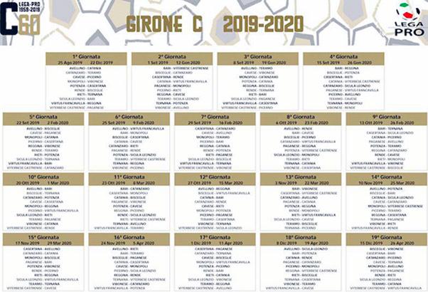 Tabella calendario stagione 2019/20 Serie C