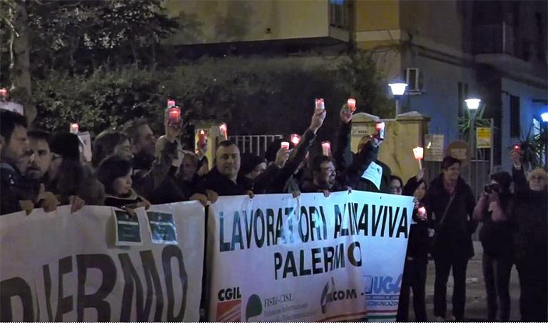 Fiaccolata per Almaviva a Palermo